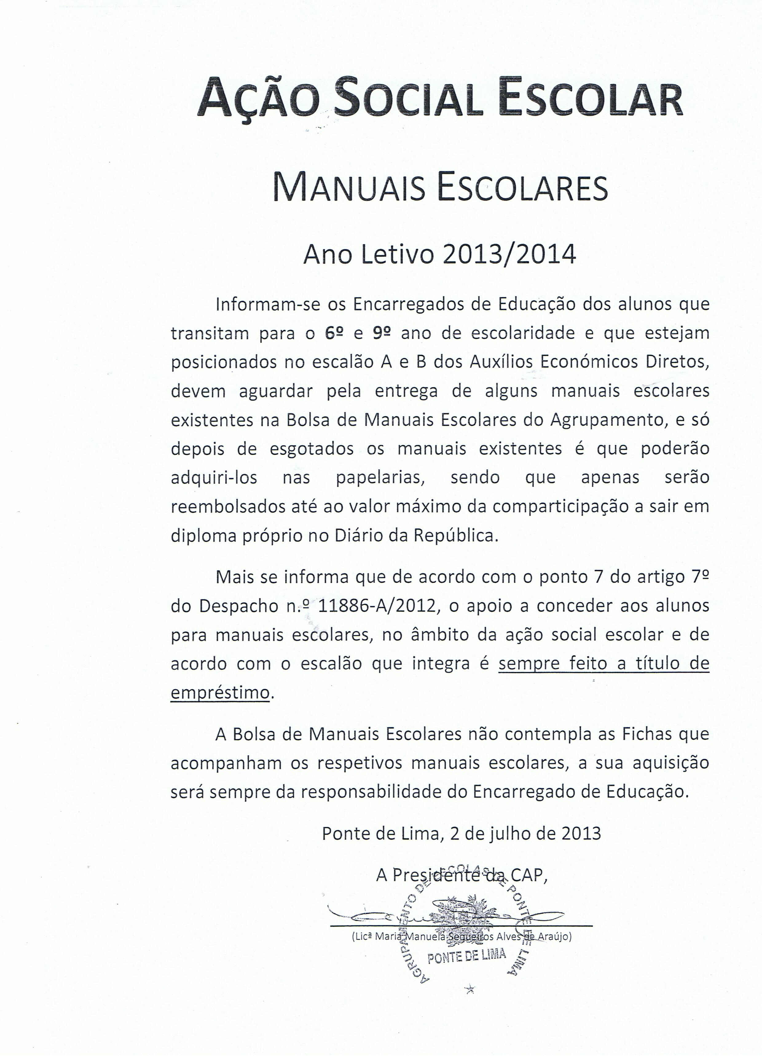 Manuais Escolares 2013-2014